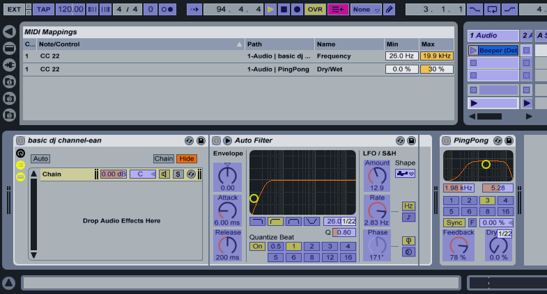 ableton how to cut only low end frequency
