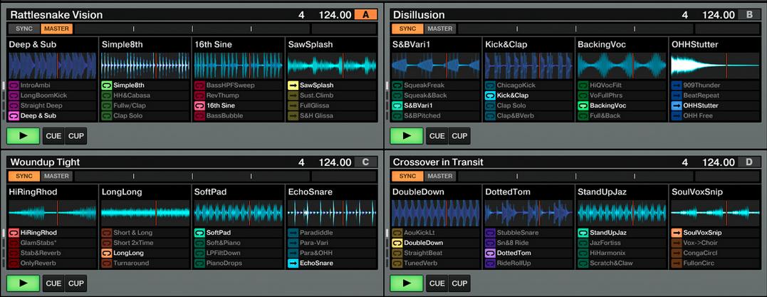 Four Remix Decks filled to the brim.