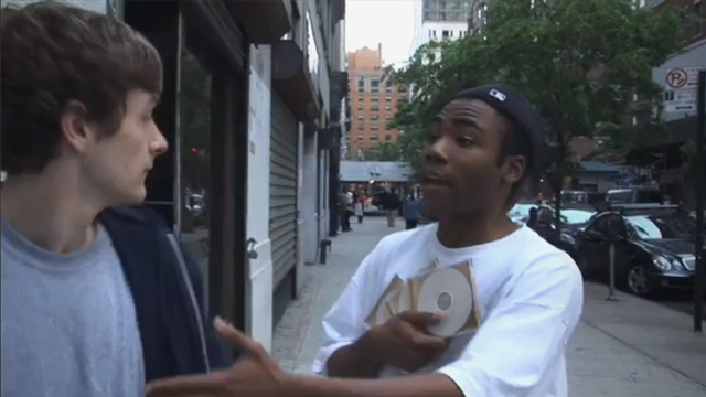 Selling your mixtapes on the street like Donald Glover isn't the most legit way to get yourself heard. (Image Credit: College Humor / Derrik Comedy)