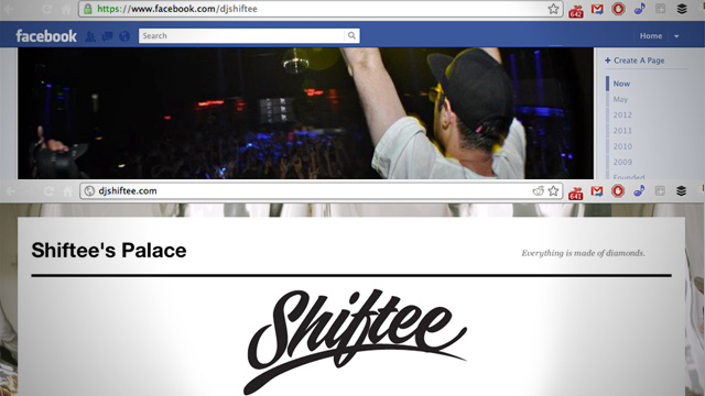 DJ Shiftee's Facebook (top) and website (bottom) - which one are you more likely to visit?