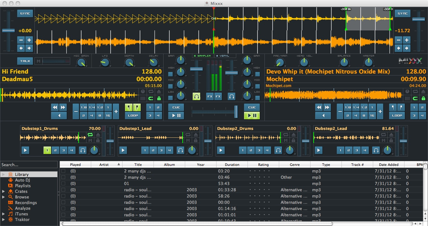All of the Mixxx skins leave the Library untouched. LateNight adds stacked deck waveforms.