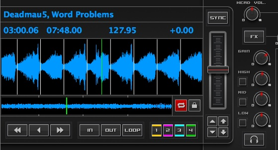 ...and with the gain boosted, Mixxx enlarges the waveform.