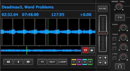 With track gain lowered, Mixxx shrinks the waveform...