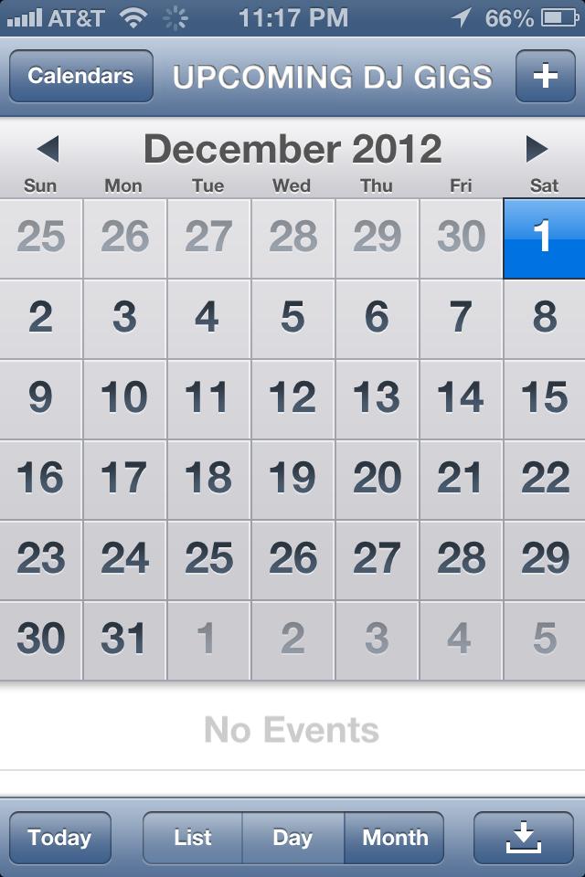 The empty gig calendar.