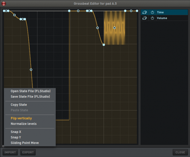 Deckadance 2's Gross Beat editor window