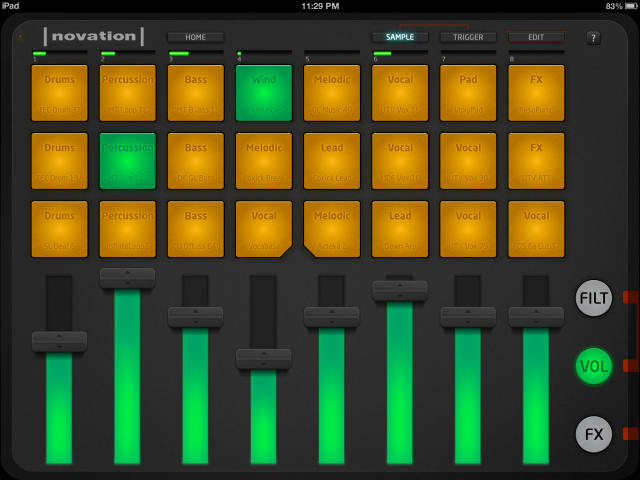 Launchpad App's Sample view with volume faders showing.