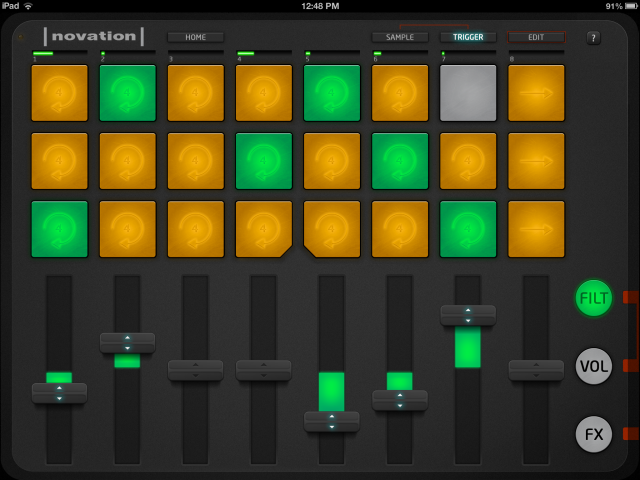 Launchpad App's Trigger view with Filter faders showing.