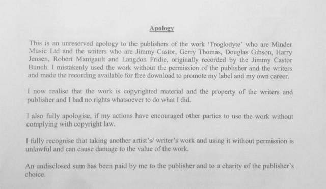Julio Bashmore's public apology.
