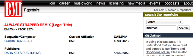 """Birdman's """"Always Strapped"""" listed on the BMI repertoire"""