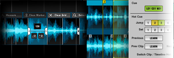 Grid editing (left) and cue point editing (right)
