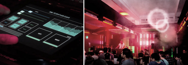 The DJ's interface on an iPad (left), and a photo from inside one of the events.