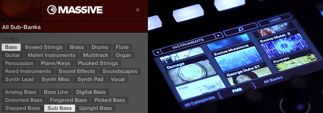 Browse by tags - and visually browse on Maschine Studio's screens