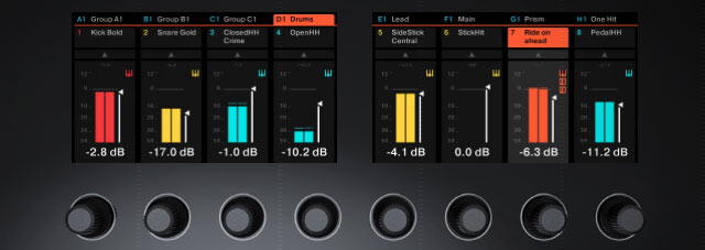 Maschine Studio's screens showing the new Mixer mode