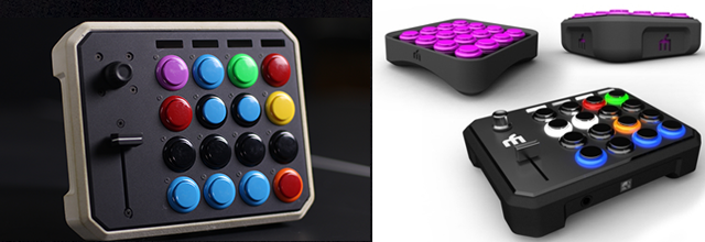 A physical prototype (left) and concept renderings (right) for the Midi Fighter 3D  that wasn't to be