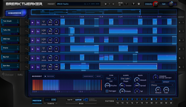 iZotope BreakTweaker's Sequencer view.