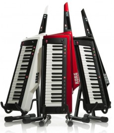 Korg RK-100s Keytars in white, red, and black.