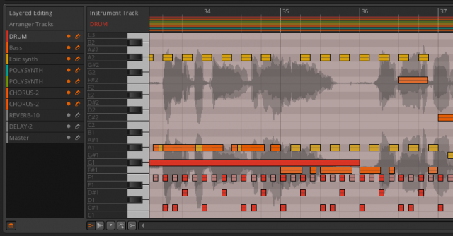Layered editing in Bitwig Studio. You can edit multiple tracks together.