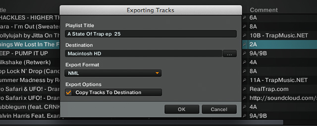 Exporting a recent ASOT playlist