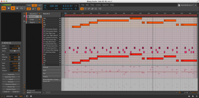 Bitwig with the Central Panel in Edit view.