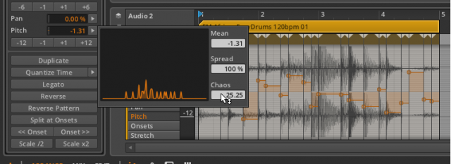 The Bitwig Histogram editing multiple audio events randomly.