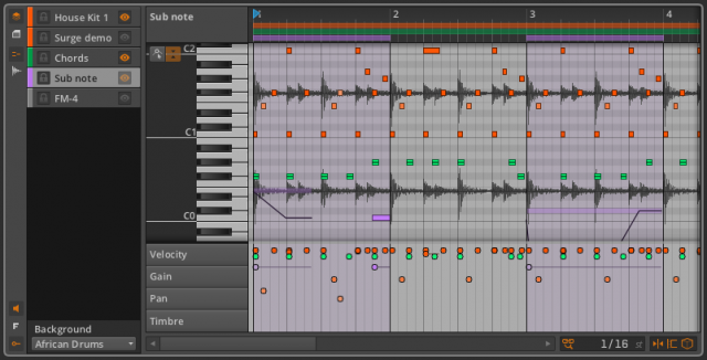 Bitwig's layered editing with an audio track as reference.