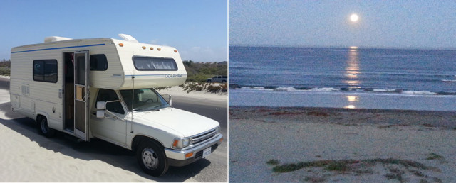 At left, the Toyota Dolphin where the studio lives. At right, a typical view from his studio.