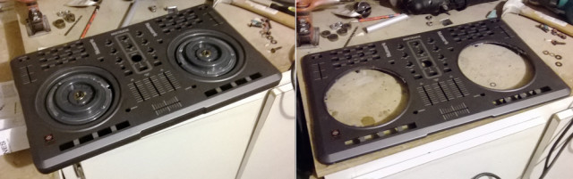 Before and after the Mixtrack's jogwheel removal